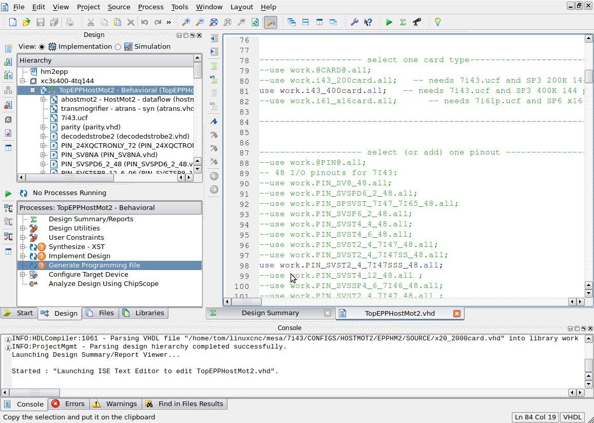 Making bitfiles for MESA Hostmot2 boards